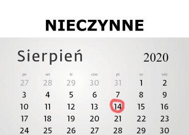 14 sierpnia 2020 - biuro Centrum Usług Komunalnych w Częstochowie - NIECZYNNE