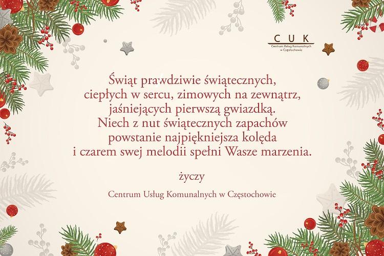 Życzenia bożonarodzeniowego od pracowników Centrum Usług Komunalnych w Częstochowie